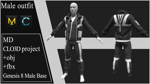 Male Outfit. Marvelous Designer / Clo3d project +OBJ +FBX.