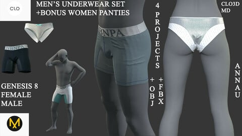 GENESIS 8 |MALE, FEMALE| MALE UNDERWEAR SET| +BONUS: FEMALE PANTIES: CLO3D, MARVELOUS DESIGNER PROJECT| +OBJ +FBX