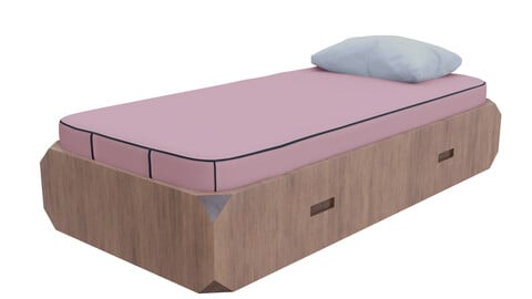 Single Bed Low-poly 3D model