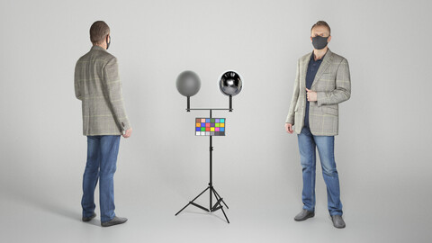 Man in casual clothes and protective mask 256