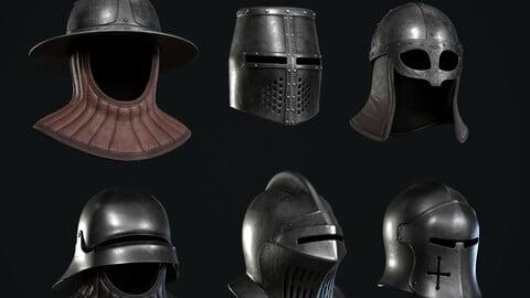 🟥6 Lowpoly Medieval Helmets Pack