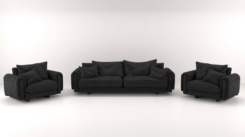 Black leather sofa and armchair