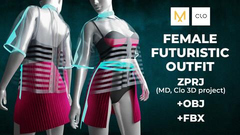 Female futuristic outfit  | Marvelous Designer/Clo 3D project