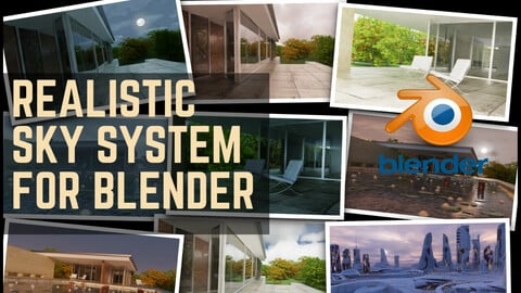 Realistic  Sky system for Blender 3D for Archviz, Cinematic, Automotive, Art  ( -50% Off Time limited  Sale 18$ instead of 36$)