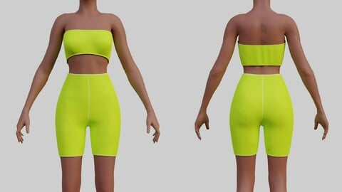 3D Neon Biker shorts set - 2 piece shorts and tube top outfit