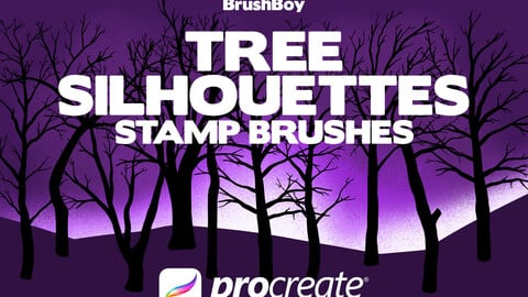 Tree Silhouette Procreate Stamp Brushes