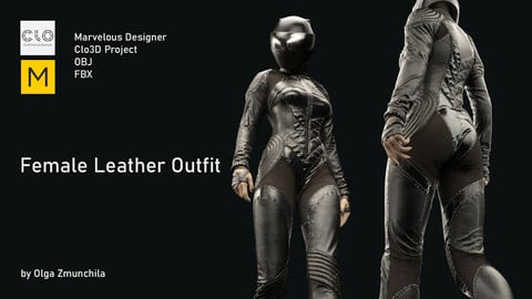 Female Lether Outfit. Clo3d, MD projects +OBJ, FBX