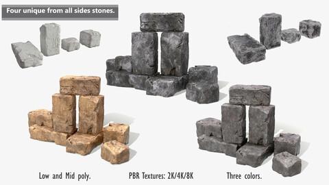 Stones rock set 01 Four high-detailed pieces - 3 colors Low-poly 3D model