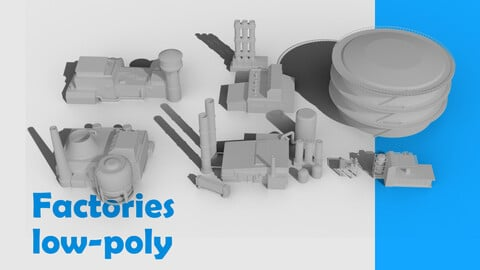 Factories low-poly 7 pack