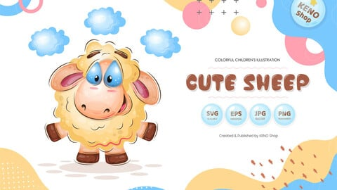 Cute Cartoon Sheep.