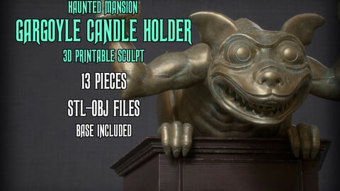 Haunted Mansion Gargoyle Candle Holder 3D printable