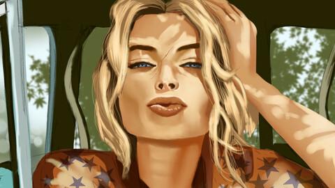 Margot Robbie drawing