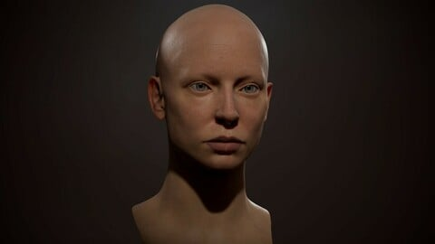 Realistic female head Low-poly