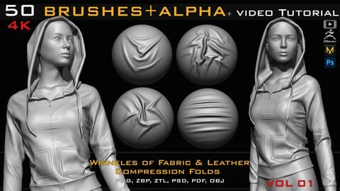 50 ZBrush Brush + Alpha (4K ) ,Fabric and Leather Compression Folds- Vol 01