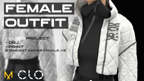 Female outfit #2 for CLO 3D standart Avatar Fenale_V2. Bodysuit + Pants + Puffer Jacket