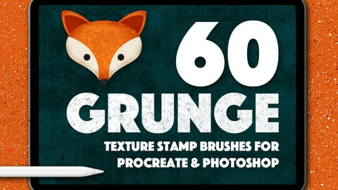 60 Grunge Tetxure Stamps for Photoshop and Procreate
