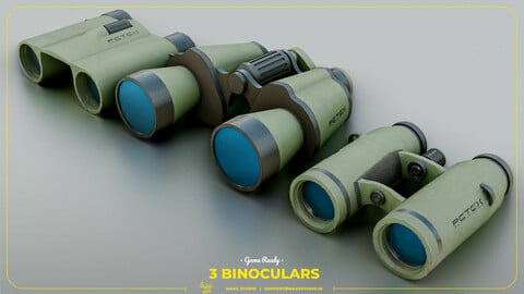 3 game ready Binoculars Low-poly 3D model