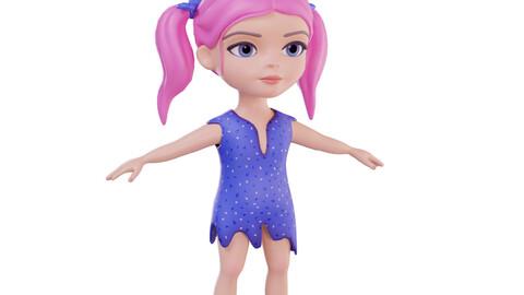 Stylized girl pink hair
