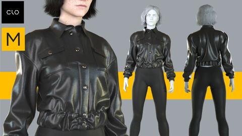 Leather jaket + leggings -Marvelous Designer Clo3d project + OBJ files