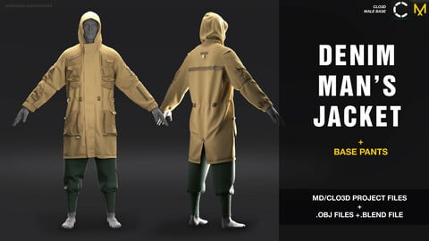 Denim men's jacket. Marvelous Designer / Clo3D project + obj + blend. file