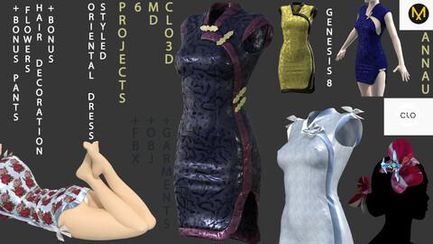GENESIS 8 FEMALE STYLED ORIENTAL SET: CLO3D, MARVELOUS DESIGNER PROJECTS 6| +OBJ +GARMENT +FBX| + TWO BONUSES