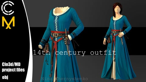 14th century outfit. Marvelous Designer, Clo3d project + OBJ.