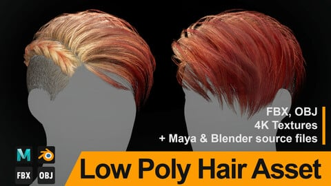 "Low Poly Hair ""Charlize"" - FBX/OBJ + Maya, Blender source file, 4K Textures"