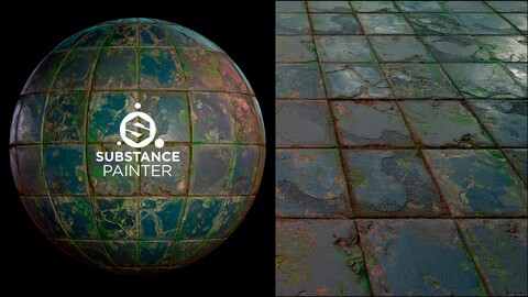PBR Old Floor Tiles material - Substance painter