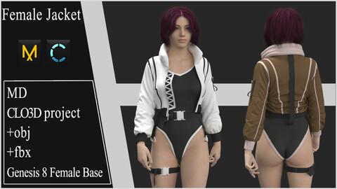 Female Jacket.  Marvelous Designer / Clo 3D project +obj +fbx
