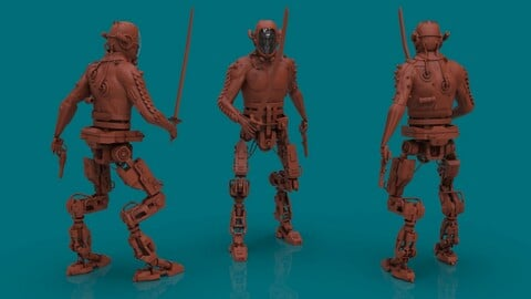 Cyborg 3d high poly model in Zbrush
