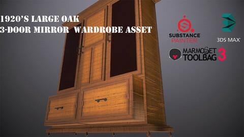 1920's Large Oak 3-Door Mirror Wardrobe [Free Model Included]