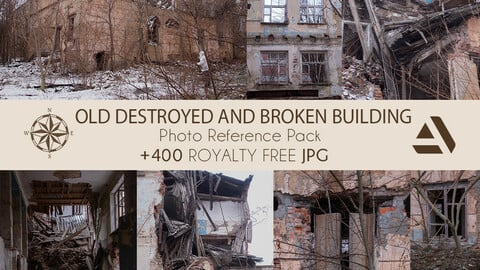 Photo/Textures Reference Pack: Abandoned and Old Destroyed, Broken Building (Inner & Outer Parts) (BEST SELLER)