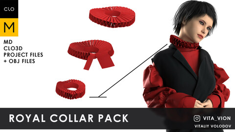 Royal collar pack ||| Marvelous Designer, Clo3d project + OBJ