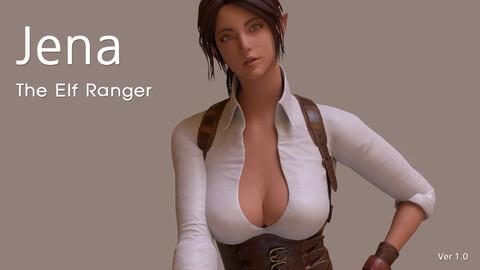 Jena  The Elf Ranger PBR Game Ready VR AR Female Character