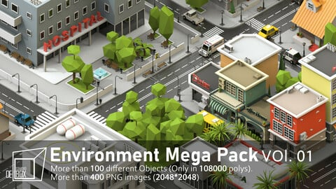 Low poly City maker-Buildings-Trees-Vehicles-Street-furniture-Vol.01