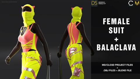 Female suit + balaclava / Marvelous Designer / Clo 3D project + obj + blend. file