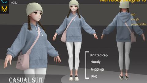 Polyester Clothes/Uniform/Outfit_Girl hoodies & Hat & Bag_Marvelous Designer, CLO3D