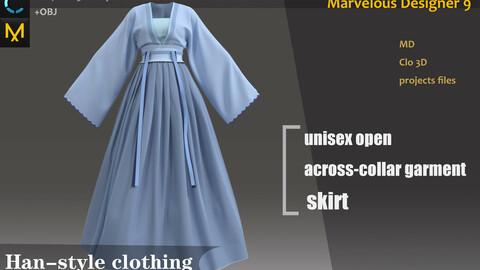Chinese-Style Dress Clo3d, Marvelous designer project_Hanfu & Kinmono_女性の漢服&着物
