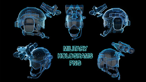 Military Helmet Hologram PNG Decal