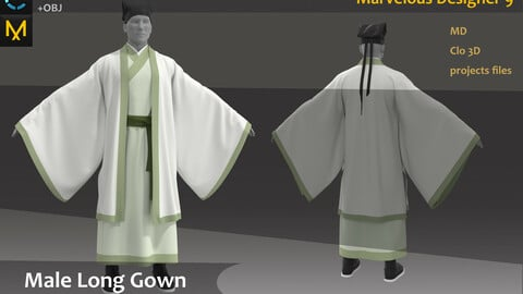 Customized_Chinese male Hanfu & Kinmono Long gown_Marvelous Designer Project_Practice for Zbrush