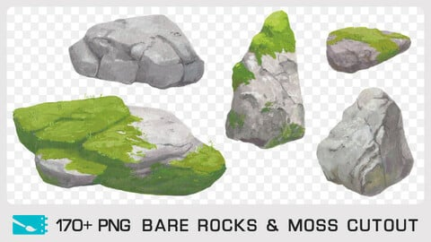 BARE ROCKS & MOSS CUTOUT - Traditional painting pack - 170+ PNG & 1 bonus PSD