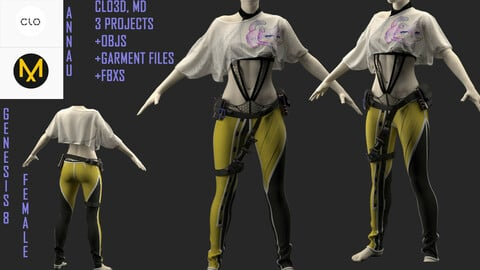 GENESIS 8 FEMALE SET: CLO3D, MARVELOUS DESIGNER 3 PROJECTS| +garments +OBJ +FBX