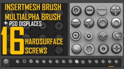 INSERTMESH BRUSH SCREWS + ALPHA BRUSH + DISPLACE