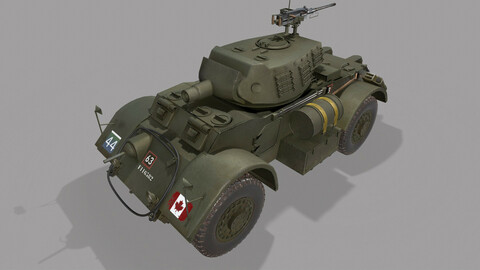 T17E3 Staghound Howitzer Armored Car Low-poly PBR