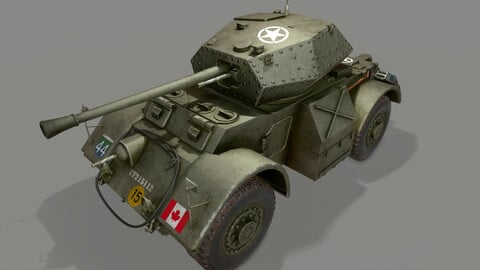 T17E1 Staghound Mk3 Armored Car Low-poly PBR