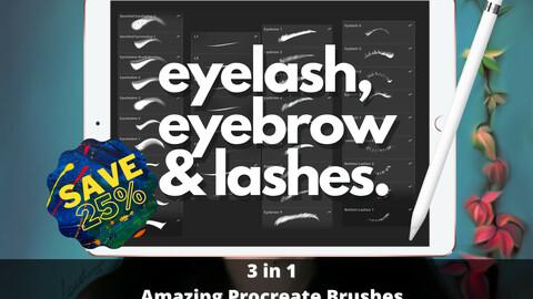 3 in 1 Pack Procreate Eyelash & Eyebrow Brushes. Procreate Lashes