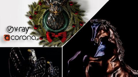 horse_statue & eagle_statue & deer_Christmas