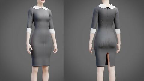 Plaid collar dress - 3D female dress