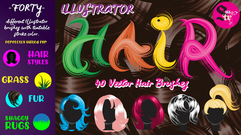 Illustrator Hair Brushes by Suztv
