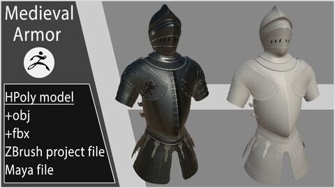 Medieval Armor / ZBrush project +fbx +obj